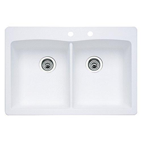 Blanco 440221-2 Diamond 2-Hole Double-Basin Drop-In or Undermount Granite Kitchen Sink, White