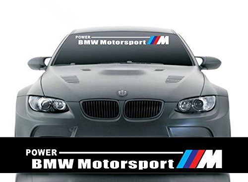 Etie 125x20cm Reflective Car Styling Front Windshield Banner Decal Vinyl Car Stickers for BMW Auto DIY Exterior Modifield Accessories (Black Background)