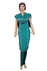 Women's Cotton Unstitched Salwar Suit Dress Material Bandhaj Work (Dress_485_FreeSize_Blue)