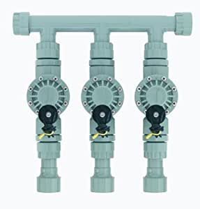 Orbit 57153 Sprinkler System 3-Valve Pre-Assembled Manifold with 3/4-Inch & 1-Inch Pipe Adapters (Discontinued by Manufacturer)