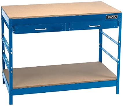 STEEL WORKBENCH - Manufactured from sheet steel with a powder coated finish. MDF worktop and lower shelf with two top drawers. Easy-to-assemble as there are no nuts and bolts. Supplied in packed flat form with assembly instructions. Display packed.