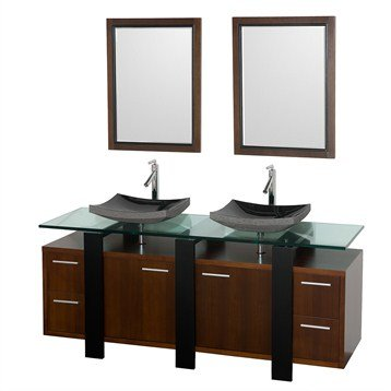 Greenwich 72 Inch Double Bathroom Vanity - Walnut