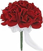 Red Silk Rose Toss Bouquet - 1 Dozen Silk Roses - Lesbian Bridal Bouquet