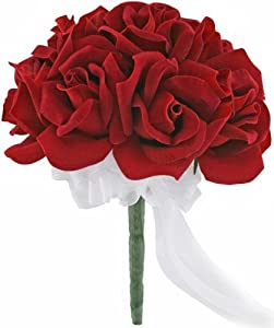 Red Silk Rose Toss Bouquet - 1 Dozen Silk Roses - Lesbian Bridal Bouquet