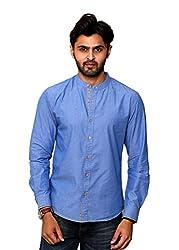 Rafters royal blue full sleeves men's slim fit casual shirt