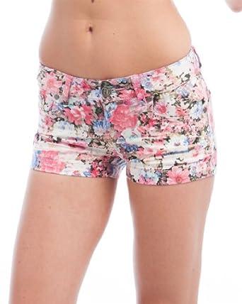 MOD 20 Women's Antique Wash Rose Denim Shorts Black & Pink 7(FC0286SH)
