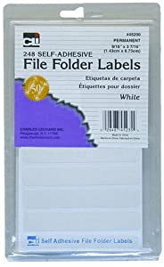 Charles Leonard Inc. File Folder Labels, 0.56 x 3.43 Inches, White, 248/box (45235)