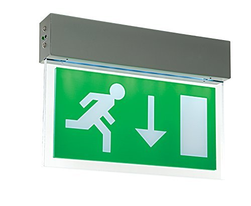 Saxby 10550 - Luxway Exit Down EM .42W Exit Sign - Silver Paint