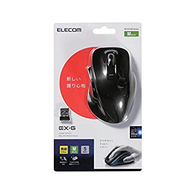 ELECOM マウス ワイヤレス 無線 BlueLED 2.4GHz 5ボタン Mサイズ ブラック M-XG1DBBK