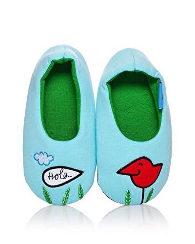 Dolca Zapatillas de estar por casa Happy Bird Azul Celeste
