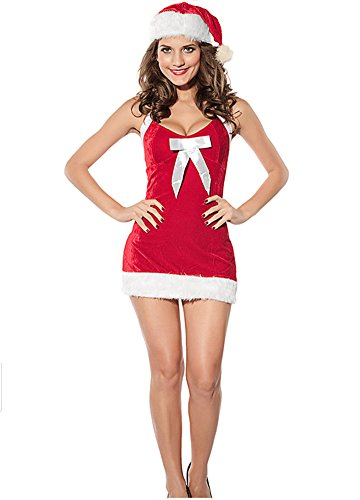 Fairy Season Sexy Lady Christmas Santa Claus Costume Dress Backless Lingerie Set