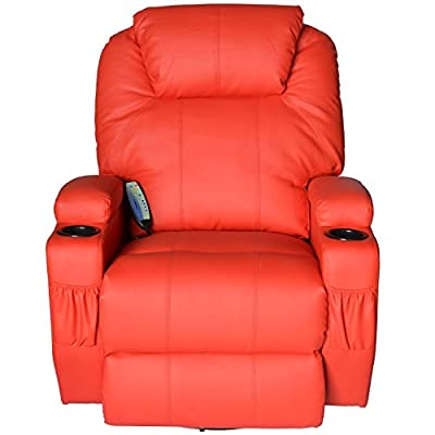 Massage Recliner Sofa Leather Vibrating Heated Chair Lounge Executive w/ Control - Red