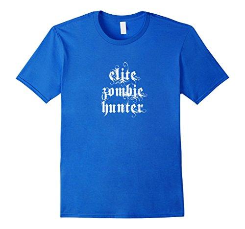 Men's Elite Zombie Hunter T-shirt Awesome Zombie Costume Shirt 2XL Royal Blue (Hunter Mens Costume)