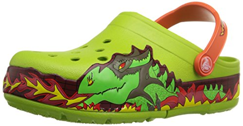 Crocs Kids' CrocsLights Fire Dragon Light-Up Clog  (Infant/Toddler/Little Kid/Big Kid),Volt Green,8 M US Toddler