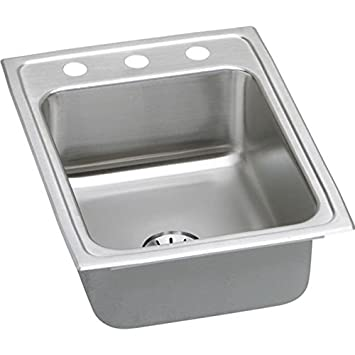 "Elkay LR1722PDMR2 18 Gauge Stainless Steel 17"" x 22"" x 7.625"" Single Bowl Top Mount Kitchen Sink Kit"