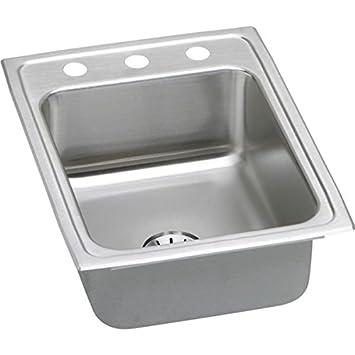 "Elkay LR1722PDMR2 18 Gauge Stainless Steel 17"" x 22"" x 7.625"" Single Bowl Top Mount Kitchen Sink Kit"