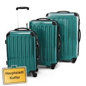 3er Hartschalen Kofferset waldgrün-Hochglanz