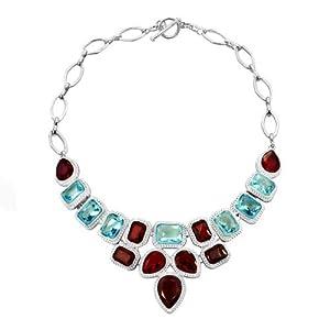 Pugster Chunky Bubble Garnet Red Aquamarine Blue Bib Statement Water Drop Necklace Fashion Jewelry For Women