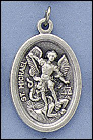 100 Piece Pack, Patron Saints Medals, St. Michael with Guardian Angel, Italian Oxidized Silver.