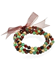 M&S Collection Multi-Strand Assorted Bead Stretch Bracelet