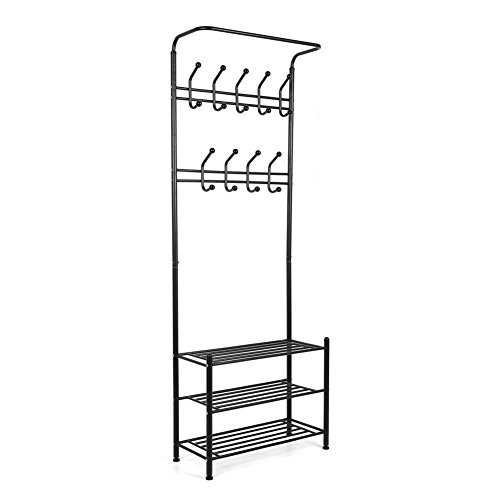 MVPower Metal Entryway Storage Bench with Coat Rack Corner Hallway Hat Shoe Coat Rack Stand & 18 hooks (Black) (Coat Rack Entryway compare prices)