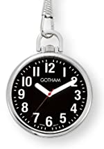 Gotham Men's Silver-Tone Ultra Thin Bold Number Open Face Quartz Pocket Watch # GWC15033SB