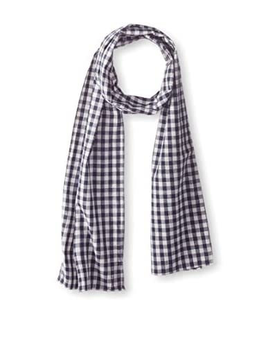 J. McLaughlin Men's Cotton Check Scarf, Navy/White