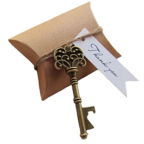 SL crafts 100 Sets Kraft Pillow Boxes Antique Skeleton Key Bottle Openers Thank You Tag Wedding Favors Candy Box