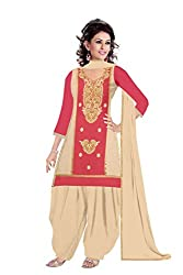 Queen Creation Women's Beautiful Semistitched Embroidered Light Pink Dress Material