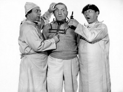 Three Stooges (Larry, Curly, Moe) in Monkey Businessmen