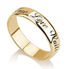 buy Personalized Purity Ring, Engraved Promise Ring, Couples Ring 14K Yellow Gold (7)