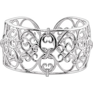Sterling Silver 1/3 ct tw Diamond Cuff Bracelet