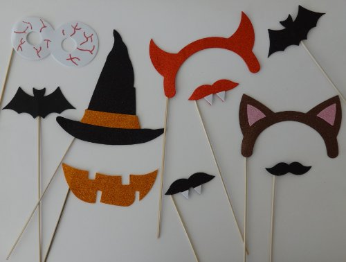 Halloween Photo Booth Party Props Mustache on a Stick Booooo
