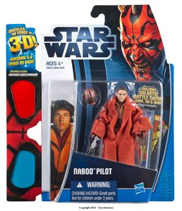 "Star Wars Movie 2012 Discover the Force 3 3/4"" Carded Naboo Pilot 3D - 1"
