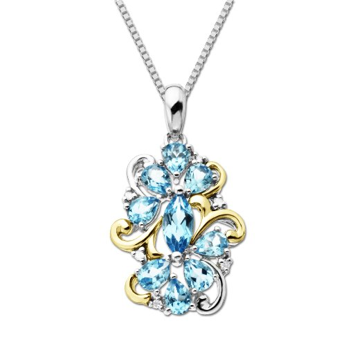 S&G Sterling Silver and 14k Yellow Gold Diamond and Swiss Blue Topaz Pendant Necklace (0.03 cttw, I-J Color, I3 Clarity), 18