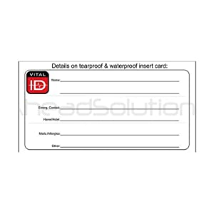 Original Spare ID Cards for Vital ID Wristbands. Fully Waterproof. Suitable for Medical ID, Sport ID Child Safe ID Identity Bracelets. Pack of 2.