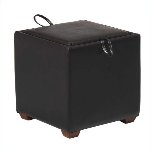 Office Star Metro Cube Storage / Tray Ottoman in Espresso