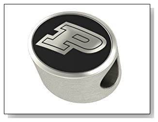 Purdue Boilermakers Collegiate Bead Fits Most Pandora Style Bracelets Including Pandora Chamilia Biagi Zable Troll and More. High Quality Bead in Stock for Immediate Shipping