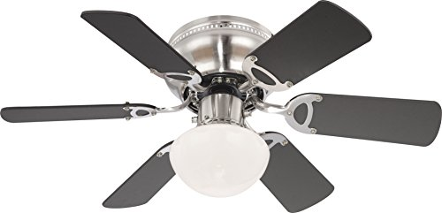 Globo Ugo - Ventilatore da soffitto in nichel opaco