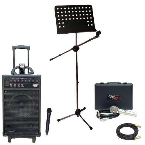 Pyle Speaker, Mic, Stand And Cable Package - Pwma860I 500W Vhf Wireless Portable Pa System /Echo W/Ipod Dock - Pdmik4 Dynamic Microphone With Carry Case - Pmsm9 Heavy Duty Tripod Microphone And Music Note Stand - Ppmcl50 50Ft. Symmetric Microphone Cable X