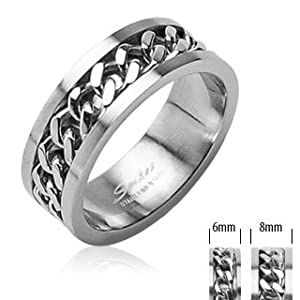 316L Stainless Steel Cuban Link Chain in Middle Ring 6mm Sz 5-8, 8mm Sz 9-14; Comes Free Gift Box (10)