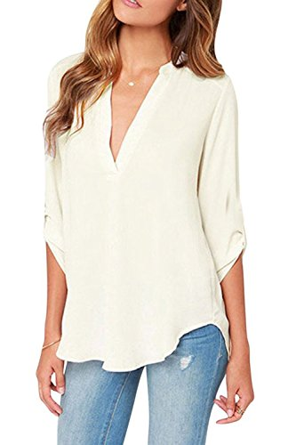 HIMONE Women V Neck Long Sleeve Casual Chiffon T-Shirt Office Lady Blouse Top White XXL