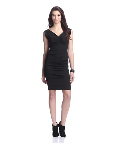 Nicole Miller Women's V-Neck Tucked Dress