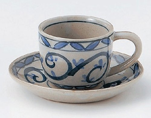 KARAKUSA 2.9inches Set of 2 Cups & SaucersJiki Japanese Original Porcelain