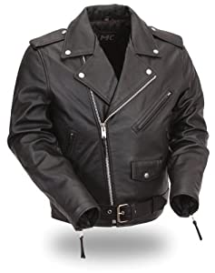 First Manufacturing Classic Kids Motorcycle Jacket for Boys and Girls (Black, Size 4)