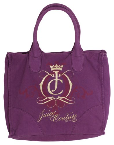 Juicy Couture Aubergine Canvas Zip Top Tote Bag