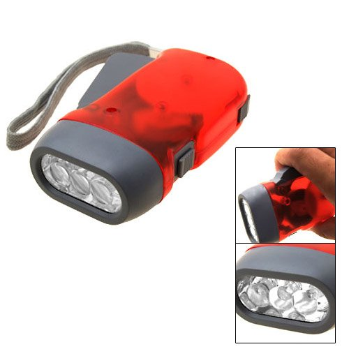 Red Transparent Battery Free Hand Press Dynamo 3 Led Torch Flashlight