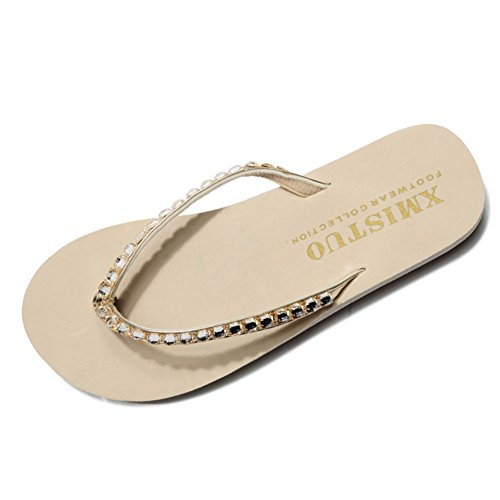Qianle Women's Summer Fashion Rhinestone Platform Flip Flops Slipers