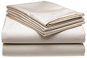 600-Thread-Count Wrinkle-Free No-Iron Queen Sheet Set, Ivory