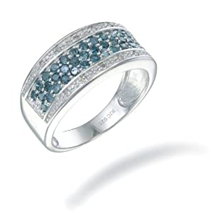 Sterling Silver Blue Diamond Ring (3/4 CT) In Size 7